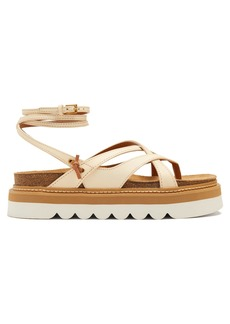 See By Chloé Wraparound leather flatform sandals