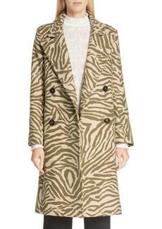 See by Chloé Zebra Print Wool Blend Coat