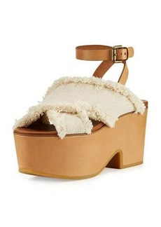 See by Chloé See by Chloe Adele Frayed Canvas Platform Clog Sandal