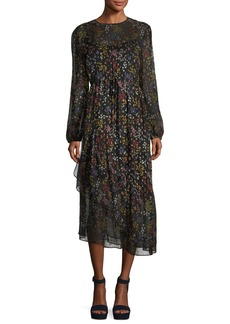 See by Chloé See by Chloe Asymmetric Floral-Print Long-Sleeve Dress