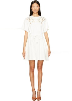 See by Chloé See by Chloe Cotton Short Sleeve Flower Drawstring Dress
