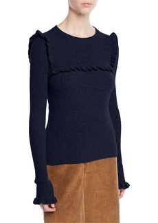 See by Chloé See by Chloe Crewneck Fitted Ribbed Alpaca-Blend Sweater w/ Ruffled Trim
