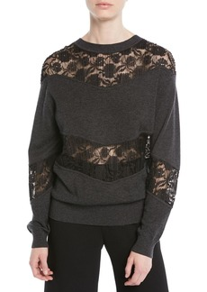 See by Chloé See by Chloe Crewneck Pullover Sweatshirt w/ Lace Inserts