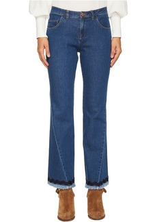 Denim Scalloped Trim Jeans