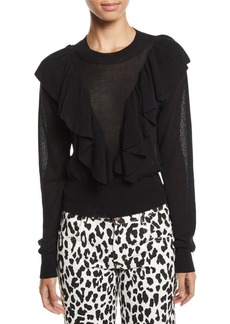 See by Chloé See by Chloe Double-Ruffle Long-Sleeve Knit Top
