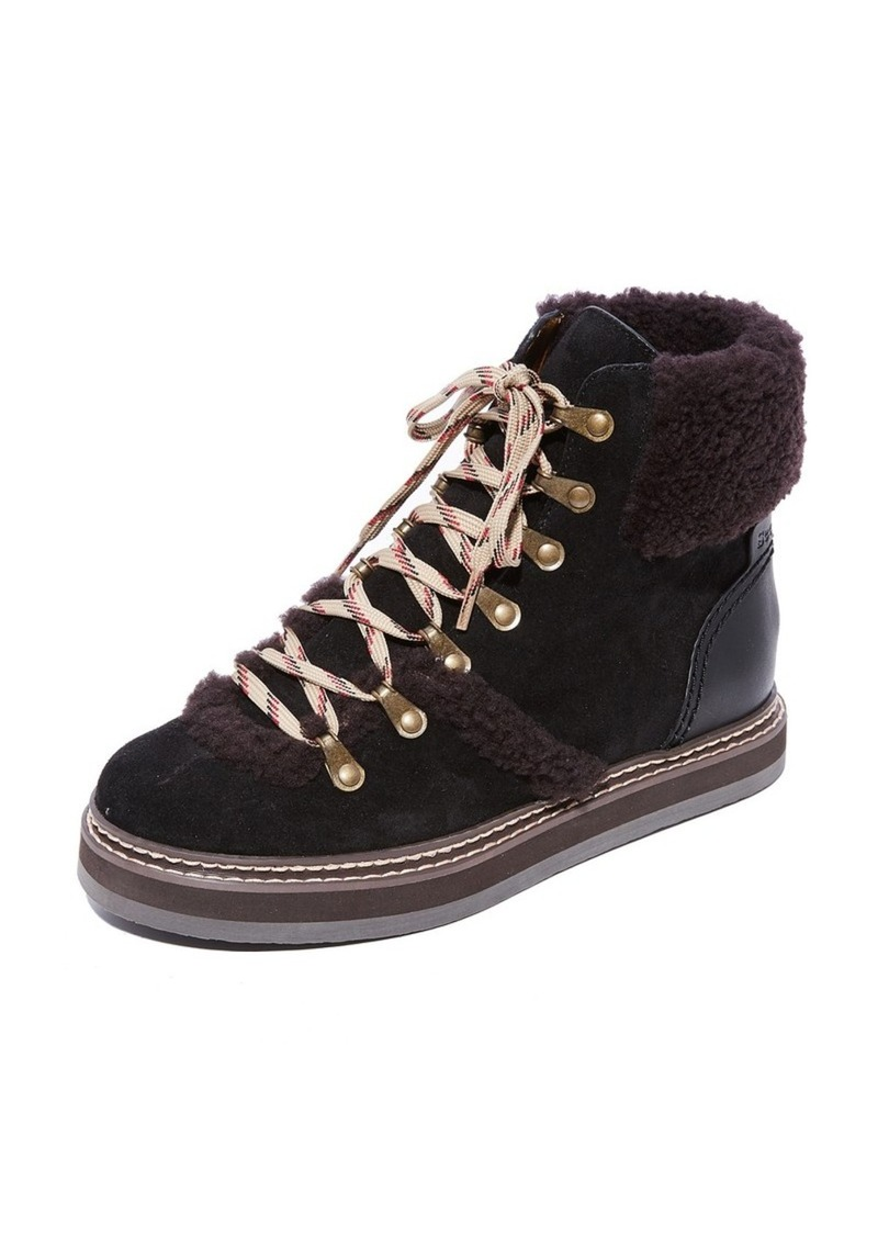 See By Chlo 233 See By Chloe Eileen Flat Shearling Boots Shoes