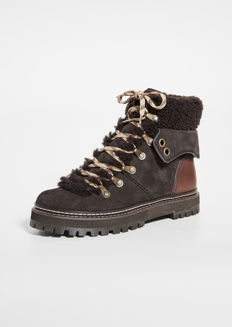 See by Chloé See by Chloe Eileen Flat Shearling Hiker Boots