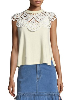 See by Chloé See by Chloe Eyelet-Neck Sleeveless Cotton Tee