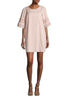 See by Chloé See by Chloe Eyelet-Sleeve Cotton Shift Dress