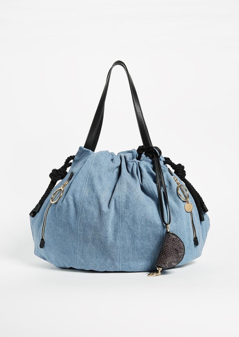 See By Chloé Chloe Flo Denim Shoulder Bag