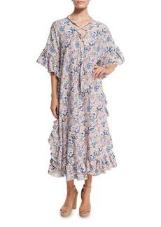 See by Chloé See by Chloe Floral Ruffle-Trim Midi Dress