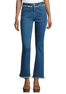 See by Chloé See by Chloe Frayed-Hem Flared Denim Trousers