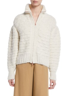 See by Chloé See by Chloe Fuzzy Zip-Front Knit-Back Jacket