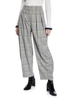 See by Chloé See by Chloe Gathered Check Pleated Trousers