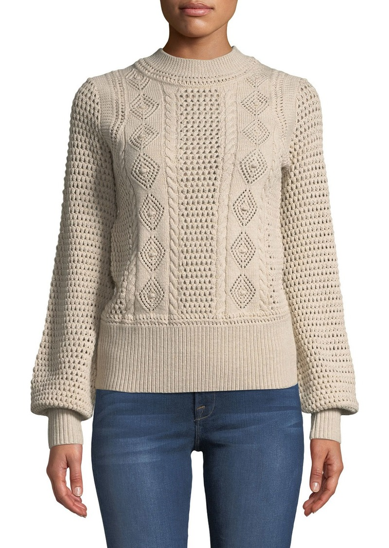 See by Chloé See by Chloe High-Neck Balloon-Sleeve Knit Pullover Sweater