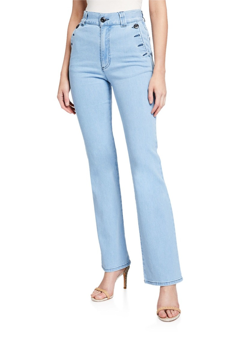 See by Chloé See by Chloe High-Rise Straight-Leg Jeans with Button Details