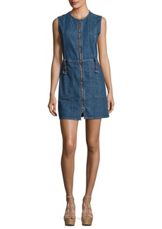 See by Chloé See by Chloe Jewel-Neck Zip-Front Denim Dress