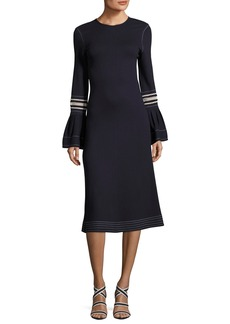 See by Chloé See by Chloe Jewel-Neckline Trumpet Sleeves Embroidered Jersey Dress
