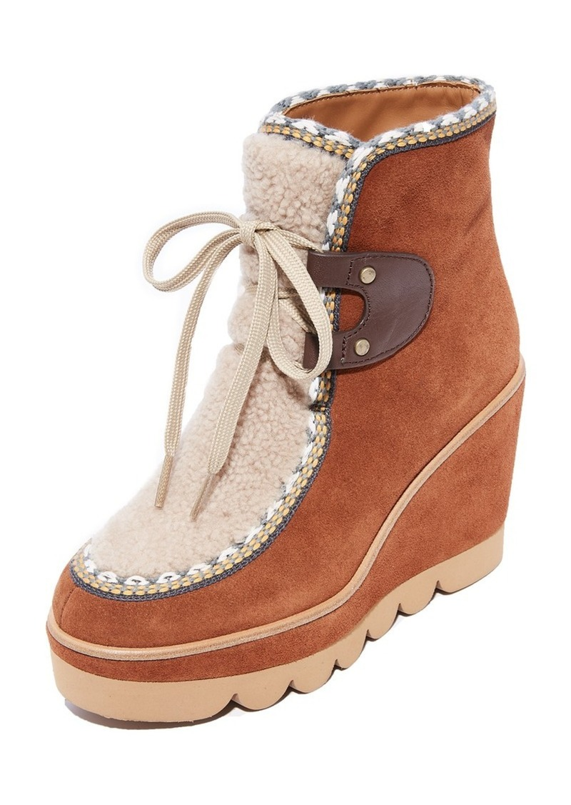 d0761e067c21 See by Chloé See by Chloe Klaudia Wedge Shearling Booties