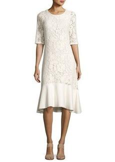 See by Chloé See by Chloe Lace Half-Sleeve Peplum-Hem Midi Dress