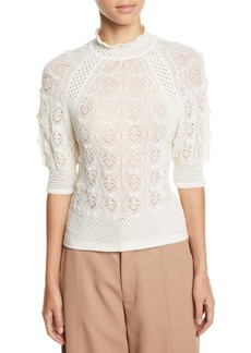 See by Chloé See by Chloe Lace Knit High-Neck Short-Sleeve Sweater