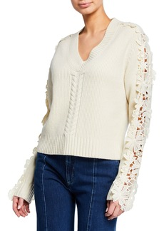See by Chloé See by Chloe Lace-Trim V-Neck Pullover Sweater