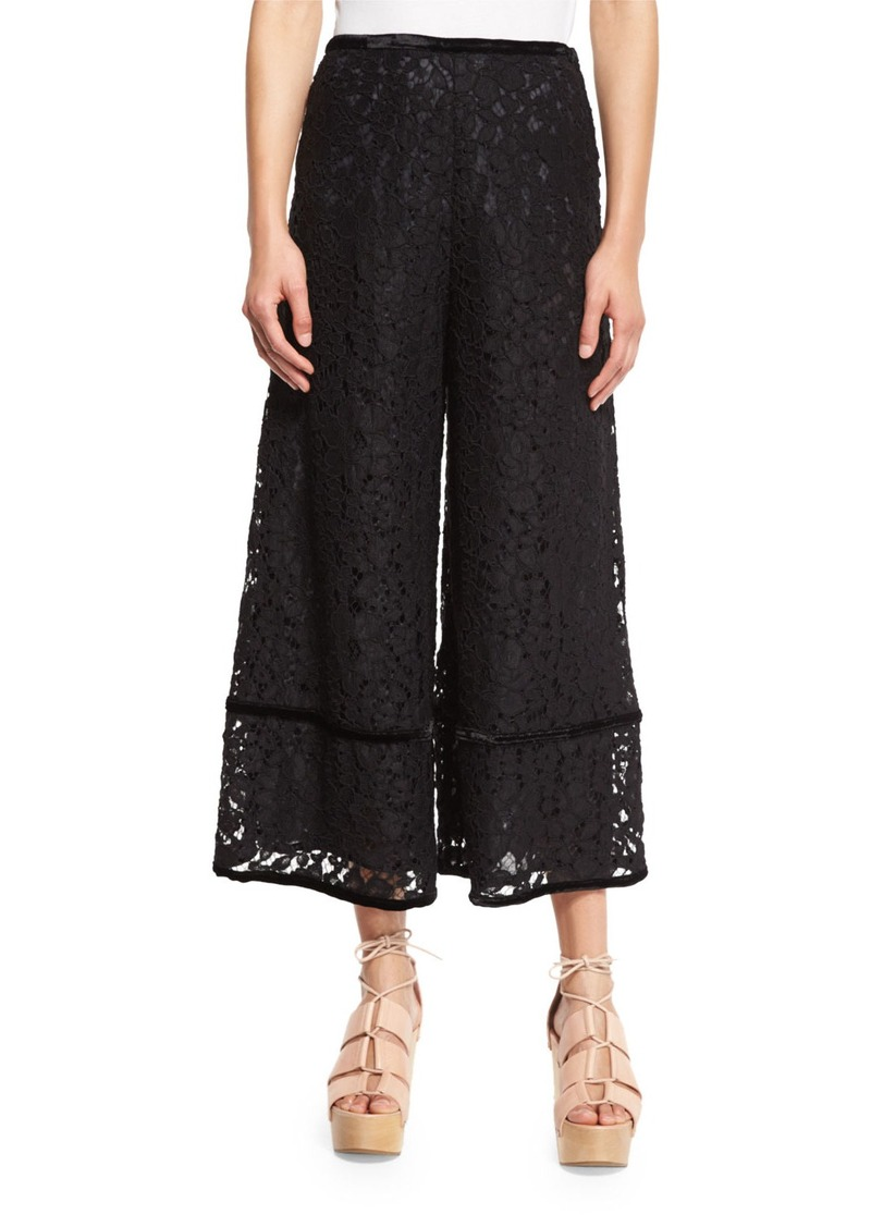 See by Chloé See by Chloe Lace-Trim Velour Culottes