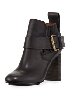 See by Chloé See by Chloe Leather Block-Heel Ankle Boot