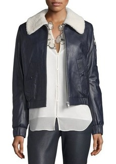 See by Chloé See by Chloe Leather Bomber Zip-Front Jacket