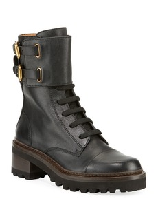 See by Chloé See by Chloe Leather Buckle Combat Boots