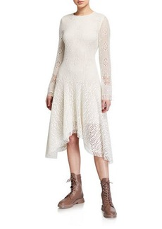 See by Chloé See by Chloe Long-Sleeve Lace Asymmetrical Dress