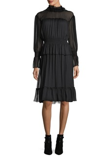 See by Chloé See by Chloe Long-Sleeve Smocked Silk Dress