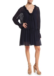 See by Chloé See by Chloe Long-Sleeve Smocked Voile Shift Dress