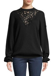 See by Chloé See by Chloe Long-Sleeve Wool Pullover Sweater with Lace Inset