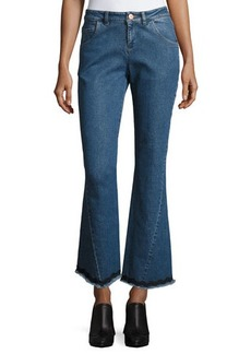 See by Chloé See by Chloe Mid-Rise Flared Raw-Hem Jeans
