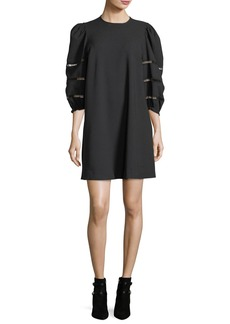 See by Chloé See by Chloe Opaque A-Line Mini Dress with Ladder-Stitched Balloon Sleeves