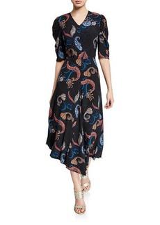 See by Chloé See by Chloe Paisley-Print Short-Sleeve Asymmetrical Midi Dress