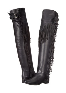 See by Chloé See by Chloe Pebbled Leather Over The Knee Boot with A Fringe