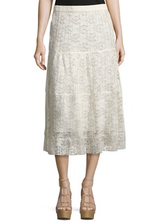 See by Chloé See by Chloe Pleated Burnout Chiffon Midi Skirt