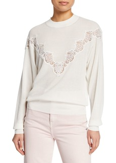See by Chloé See by Chloe Ribbed Lace Crewneck Sweater