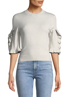 See by Chloé See by Chloe Ruffle-Sleeve Cropped Crewneck Sweater