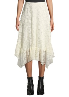 See by Chloé See by Chloe Ruffled Lace Asymmetrical Midi Skirt
