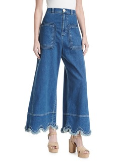 See by Chloe Scallop-Hem Denim Trousers