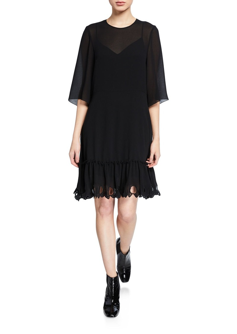 See by Chloé See by Chloe Scalloped 3/4-Sleeve Shift Dress