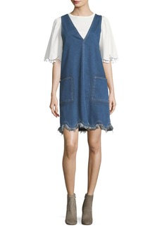See by Chloé See by Chloe Scalloped Denim Jumper Dress