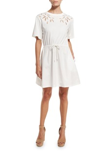 See by Chloé See by Chloe Short-Sleeve Embroidered Poplin Dress