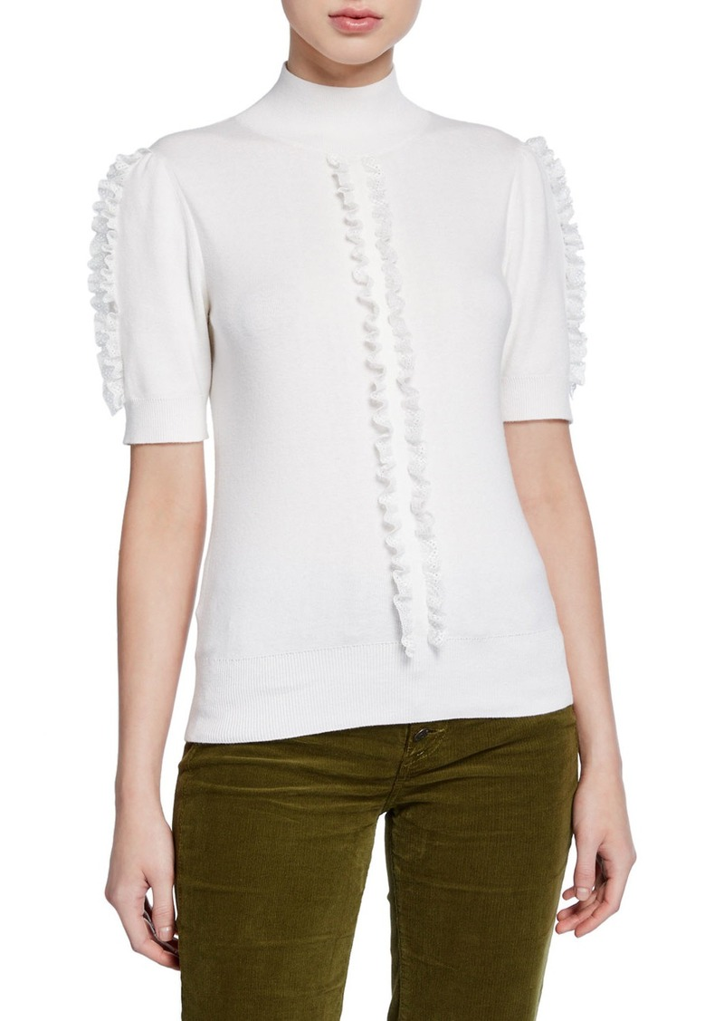 See by Chloé See by Chloe Short-Sleeve Knit Top with Ruffle Trim