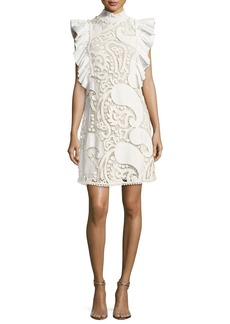 See by Chloé See by Chloe Smocked-Collar Sleeveless Ruffled Lace Mini Dress