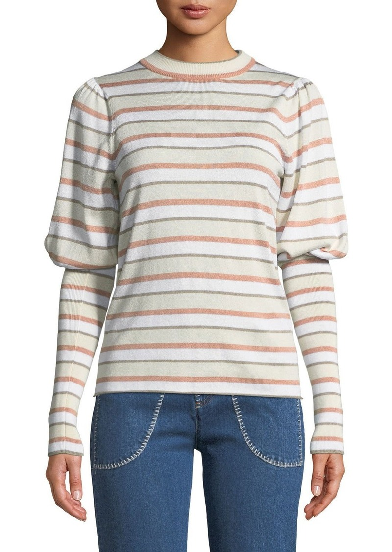 See by Chloé See by Chloe Striped Bishop-Sleeve Knit Sweater