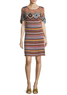 See by Chloé Striped Knit Short-Sleeve Cotton Dress